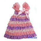 Light Pink Lavender White Cap Sleeves Lace Ruffles Pettidress Party Dress 6M-5Y