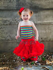 Red Lace Pettiskirt Rainbow Tube Top 2pc Birthday Party Dress 1-4Y TU21WE2