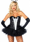 Womens Sexy Sequin Tuxedo Corset Costume Accessory