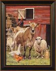 BARNYARDIGANS by Bonnie Mohr FRAMED ART PRINT 15x19 Farm Cow Sheep Chicken