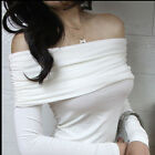 Womens Sexy Strapless Long Sleeves Tops Pull Over Slim Clubwear T-Shits S M L XL