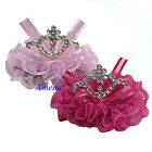 Girls Hot Light Pink Lace Tiara Sparkle Rhinestone Crown Hair Clips Accessory