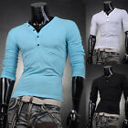 Sexy V-Neck T-Shirts Mens Boys Slim Long Sleeve Comfy Tops Tee Basic Shirts New