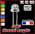 489# LED 5mm grand angle: blanc rouge jaune vert bleu blanc chaud UV rose orange