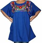 ASSORTED PEASANT PUEBLA EMBROIDERED MEXICAN BLOUSE TOP  XS,S,M,L,XL,XXL MACHINE