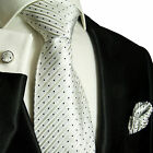 423CH/ Silk Necktie Set by Paul Malone . Silver and Black Polka Dots