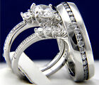 New 3 PSC Women's Engagement Sterling Silver Men's Wedding Bridal Band Ring Set