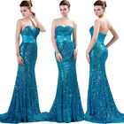 New Sexy Slim Beaded Strapless Sequins Formal Ball Gown Evening Prom Party Dress