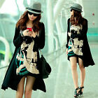 New Fashion Womens Loose Skull Long Casual T-shirt Long Sleeve Tops Blouse Dress