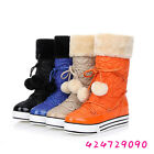 Women's Winter Flat Pumps Heel Mid Calf Boots Lace Up Shoes US All Size Y468