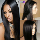 "100% Indian Remy Human Hair 8""-24"" full/front lace wig Yaki Straight 1#jet black"