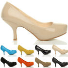 WOMENS LADIES MID HIGH HEEL CONCEALED PLATFORM WORK PARTY COURT SHOES SIZE