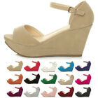 WOMENS LADIES PLATFORM WEDGE ANKLE STRAP LOW MID HEEL SUMMER SANDALS SHOES SIZE