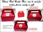 6 Red Cookie/Candy Favor Boxes w Handles Personalized Baby Shower, Birthday etc.