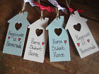 Wooden Hanging Heart House Plaque Sign Gift Tag Homemade Small Token Gift