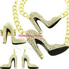 Hollywood Starlet Clear Crystal Gold HIGH HEEL STILETTO SHOE Statement Jewelry