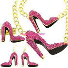 Hollywood Starlet Pink Crystal Gold HIGH HEEL STILETTO SHOE Statement Jewelry