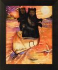 SUNSET CANOE BEARS by Karen Bicknell 20x24 Framed Print Whimsical Picture Cub