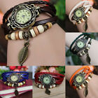 New Quartz Fashion Weave WRAP Around Leather Bracelet Lady Woman Wrist Watch
