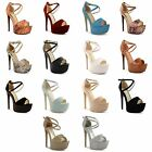 New Ladies Stiletto High Heel Open Toe Strappy Buckle Sandals Shoes Size UK 3-8