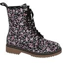 Girl Lace-up Boots Floral Print Combat Boots Military Boots (alyson01) TODDLER