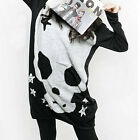 "Casual Women""s Skull T-shirt Loose Blouse Long Sleeve Cool Knit Sweater Tops"