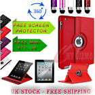 360 DEGREE ROTATING STAND PU LEATHER CASE & SCREEN PROTECTOR FOR APPLE IPAD 2 3
