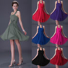 UK FAST Halter Prom Ball Women's Bridesmaid Short Cocktail Party Evening Dress