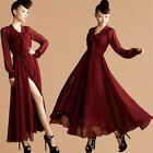 Sexy Womens Lady High Slit Chiffon Cocktail Evening Ball Gown Party Maxi Dress