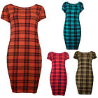 Womens Tartan Check Bodycon Mini Dress Pink Blue Mocha Ladies New Size 8-14