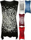 New Womens Plus Size Tiger Leopard Print Glitter Hanky Hem Ladies Vest Top 14-24