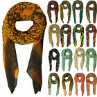 Womens Printed Scarves Large Chiffon Scarf Neon Skull Spot Heart Animal Camo New