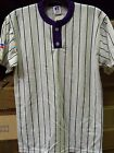 Russell 25520MK Two Button Striped Baseball Shirt, NWT Colors/Sizes $20 X