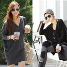 Korean Women Lady Girl Batwing Sleeve Loose Long Tops Casual T-shirt Tops Blouse