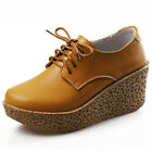 US5-9 New REAL Leather Casual LaceUp Wedge Platform Shoes round toe womens shoes