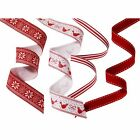 4 1.5m Christmas Fabric Ribbon♥Snowflake♥Red White♥Gift Wrapping♥Talking Tables