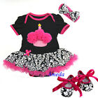 Baby Black Hot Pink Cupcake Damask Romper Pettiskirt Bodysuit Shoes Dress 0-18M