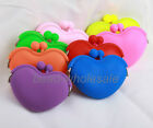 Neon Color Lady/Girl/Women Silicone Heart Shape Coin Wallet Purse Rubber Bag