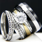 2.04 CT Clear CZ Engagement 316L Stainless Steel & Mens Wedding Bridal Rings Set