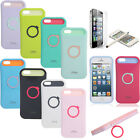 Pen+Luminous Rugged Silicone Ring Holder Stand Case for iPhone 5 5S w/Protector