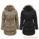 LADIES FUR HOODED WOMENS PUFFER QUILTED PADDED BELTED WINTER COAT PARKA JACKET