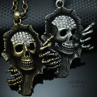 Skull Hand Pendant Chain Necklace Gold Silver Black Mens Jewelry Biker