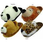WOMENS PLUSH BEDROOM ANIMAL SLIPPERS  S M L XL