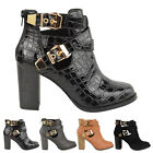 LADIES WOMENS BLOCK MID HIGH HEEL CUT OUT BUCKLE CHELSEA ANKLE BOOTS SHOES SIZE