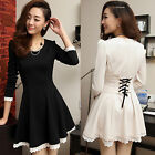 Korean Womens Autumn Winter Lace Long Sleeve Slim Party Cocktail Formal Dress
