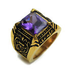 Stainless Steel Purple Crystal Golden Mens Ring Size  8 9 10  11 R464