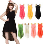 New Women Candy Color High Low Asymmetry Hem Summer Round Neck Dresses Sundress