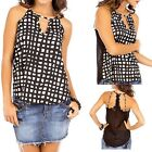 Checkers geometric print casual sleeveless blouse, Juniors, Multi-Colored, S,M,L