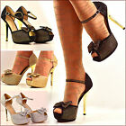 Ladies Sparkly Bow Diamante Ankle Strap Stiletto Party High Heel Shoes Pump Size