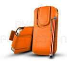 LEATHER BUTTON PULL TAB CASE COVER POUCH & STYLUS FOR VARIOUS BLACKBERRY PHONES